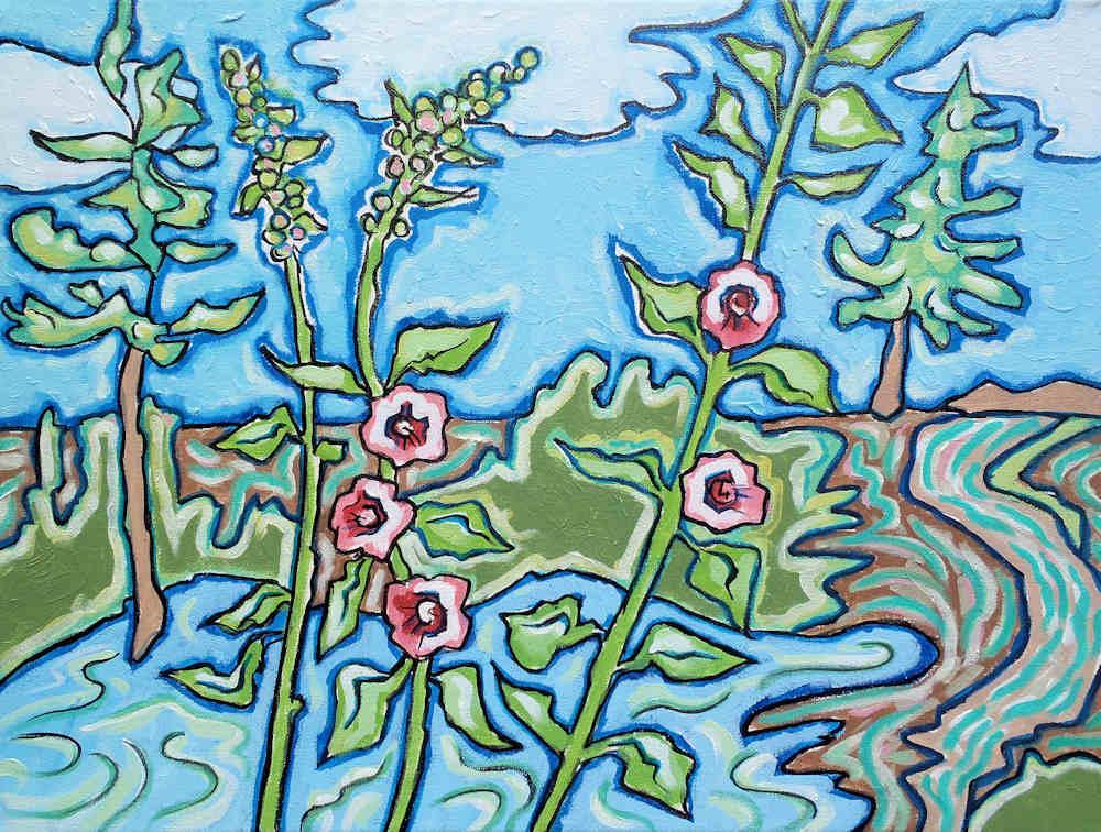 Les Roses Tremiereau bord du lac